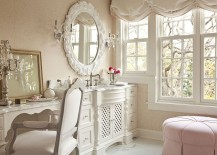 Light pink is a perfect hue for the shabby chic bathroom 217x155 Revitalized Luxury: 30 Soothing Shabby Chic Bathrooms