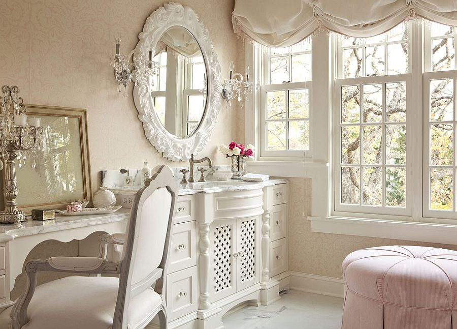 Light pink is a perfect hue for the shabby chic bathroom [From: Martha O'Hara Interiors / Troy Thies Photography]