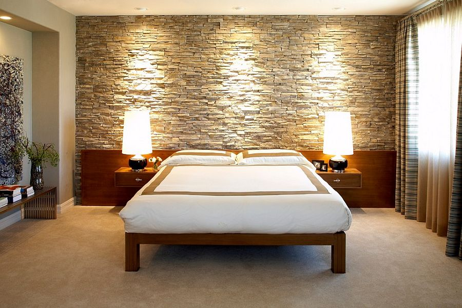 Lighting Adds To The Allure Of The Stone Wall In The Bedroom Design Socal