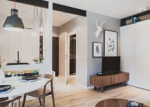 Living area of the apartment in Polad keeps the decor minimal and modern