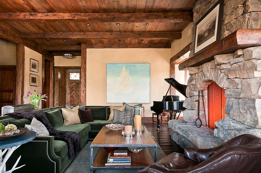Living area of the fabulous log cabin with stone fireplace