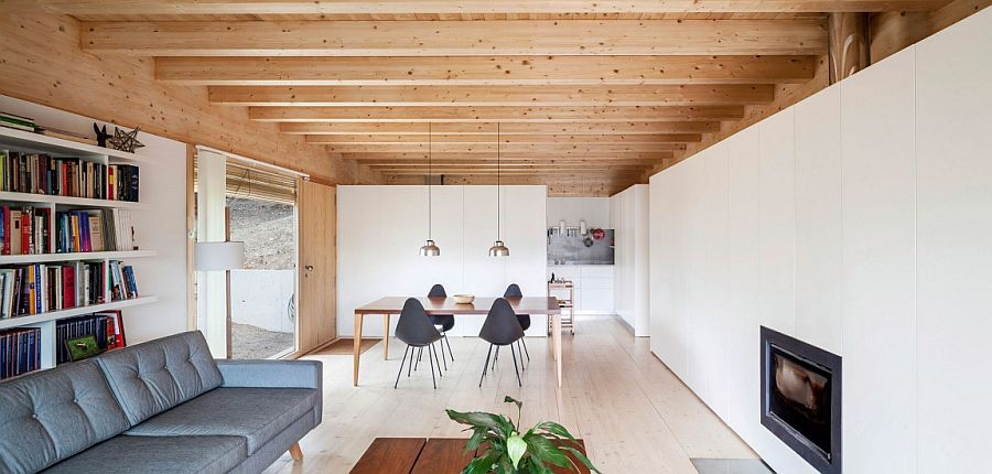 Living room with white walls and woodsy ceiling