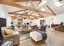 Loft ceiling with skylights gives the open living area dramatic ambaince