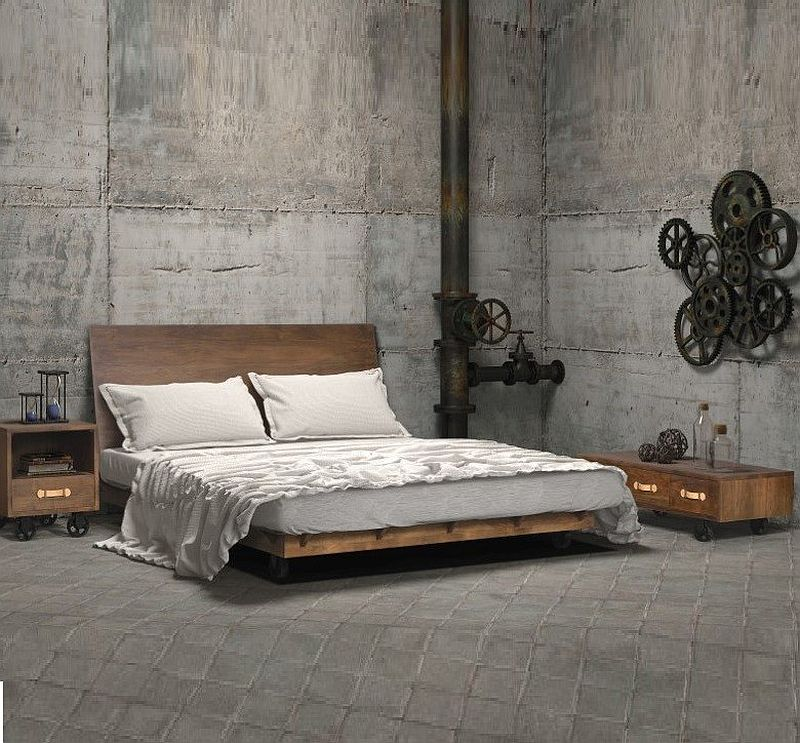 Lofty industrial space turned into a unique bedroom