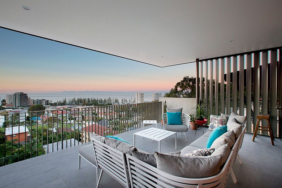 Lounge retreat of the Aussie home with stunning views of the distant Gold Coast