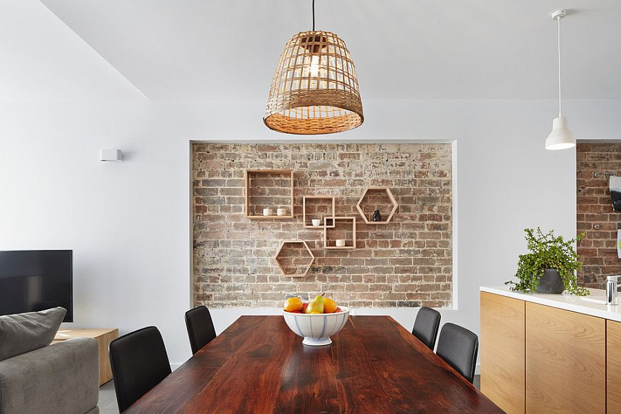 Lovely Recessed Brick Wall In The Dining Room With Geometric Wooden Shelves Design Elaine