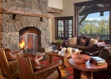 Lovely stone fireplace in the rustic living room 217x155 Spanish Peaks Cabin: A Rustic Gateway to Big Sky's Unspoiled Beauty