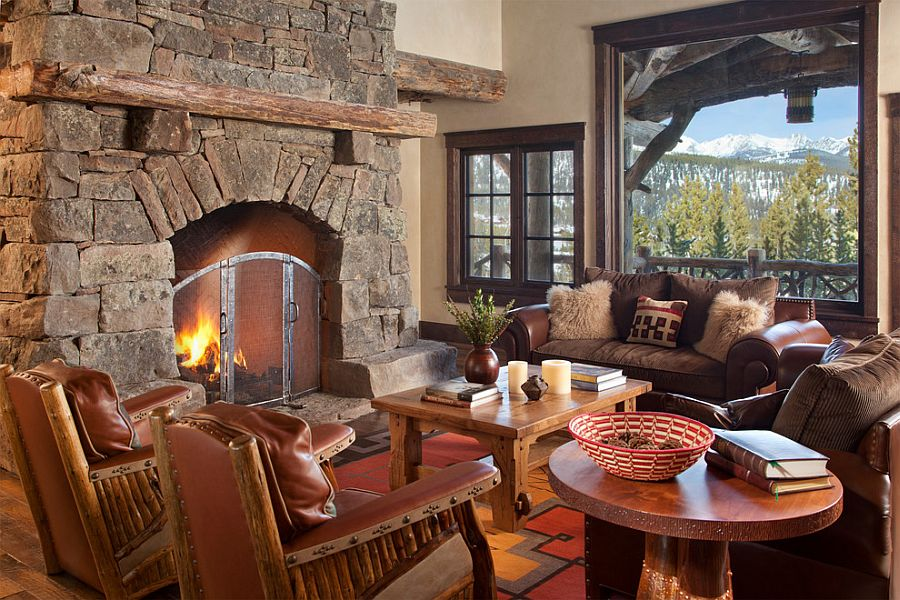 Lovely stone fireplace in the rustic living room