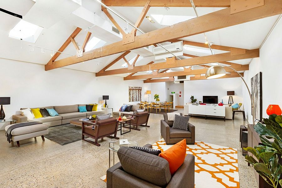 Lower level living area of Sydney home with exposed ceiling beams