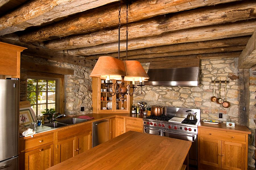 ... Making the most of the small kitchen with stone walls and timber beam  ceiling [Design