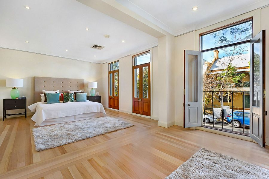 Master bedroom of the Sydney home with Juliet balcony