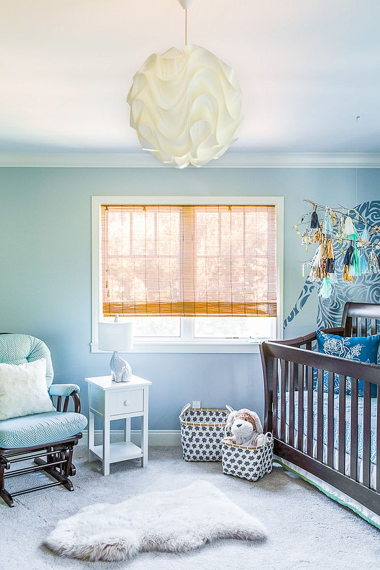 Mercado Baskets in pewter make a cute and practical addition to the nursery [Design: Susan Manrao Design]