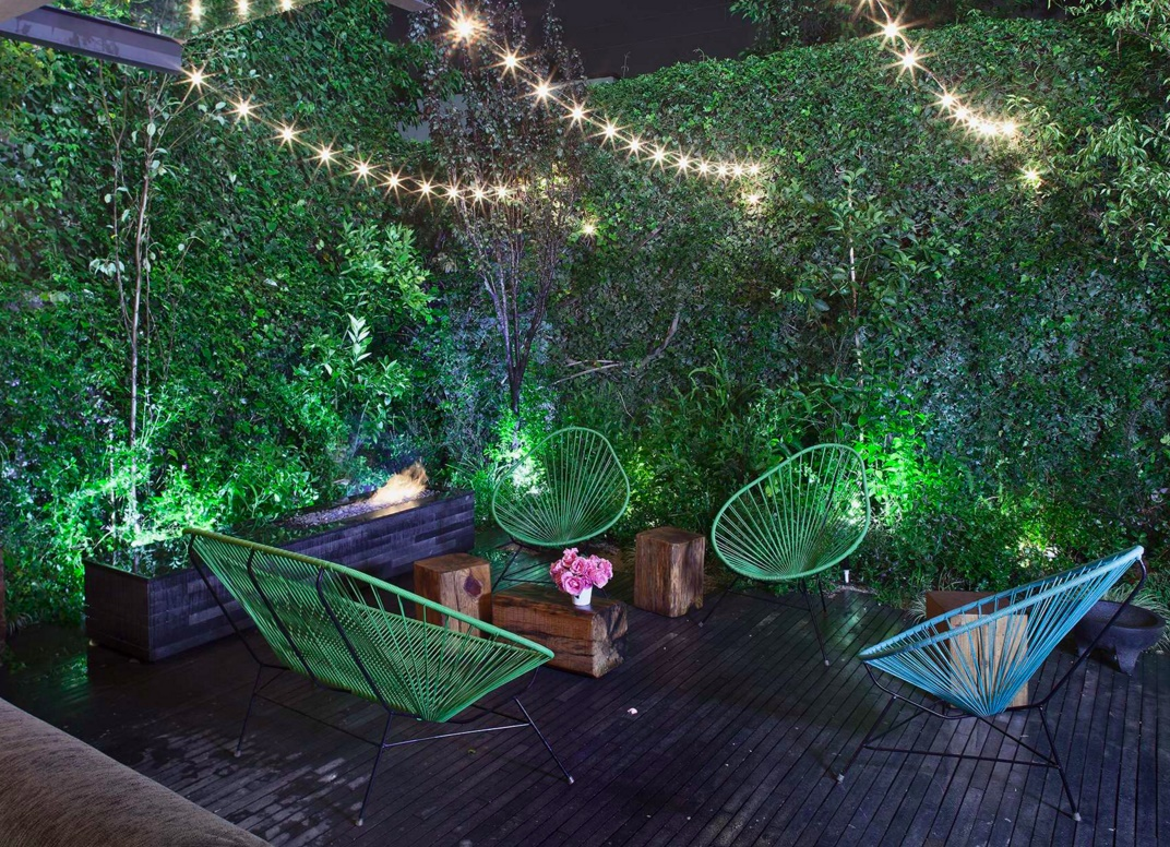 Mexico City patio with outdoor string lights