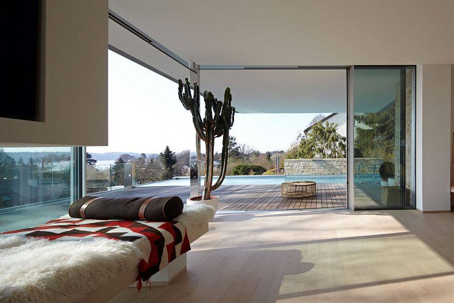 Minimal design of the deck and living area of the classy Munich home