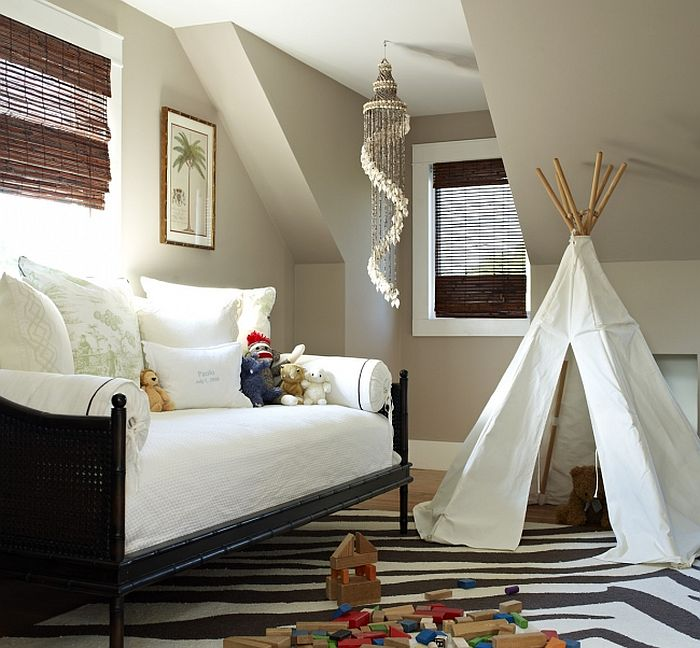 Minor changes in decor turn this playroom into a cozy guest space [Design: Bella Mancini Design]