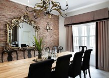 Mirror frame and chandelier bring classic touches to the modern dining room [From: Kadir Asnaz Photography]