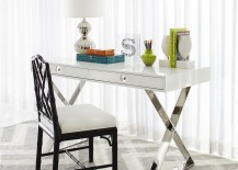 Modern Channing desk in white with polished nickel base