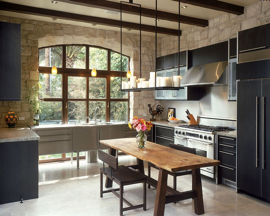 30 inventive kitchens with stone walls for Custom design windows