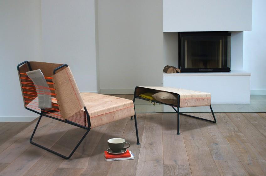 Modern birch bark lounge chair by Anastasiya Koshcheeva