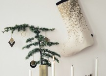 Modern gold Christmas stocking from ferm LIVING 217x155 10 Christmas Stockings with Modern Style