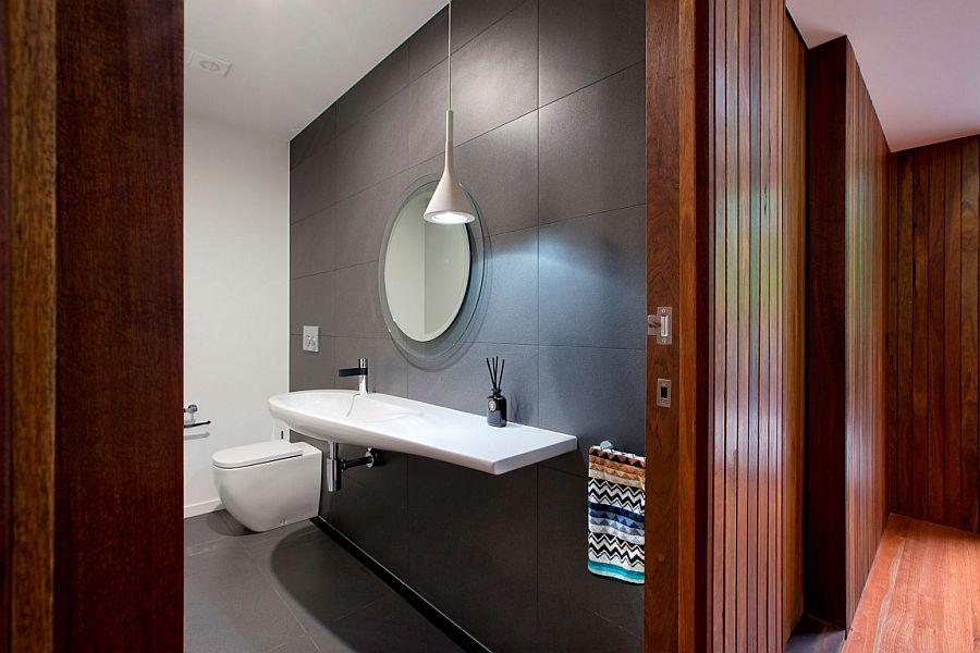 Modern minimal bathroom with a splash of gray
