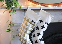 Modern pattern christmas stockings from Etsy shop Zana