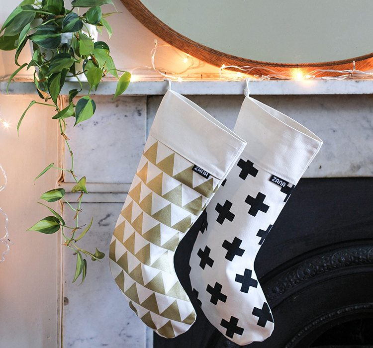 Modern pattern christmas stockings from Etsy shop Zana