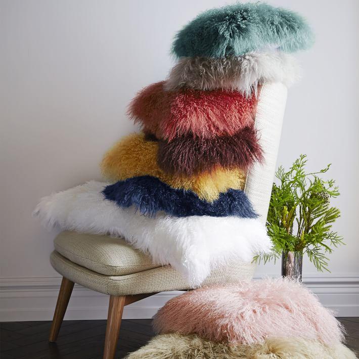 Mongolian lamb pillows from West Elm