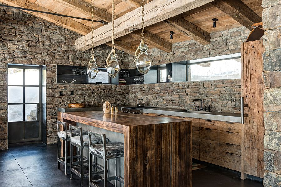 mountain cabin inspired kitchen with stone walls from montana reclaimed lumber