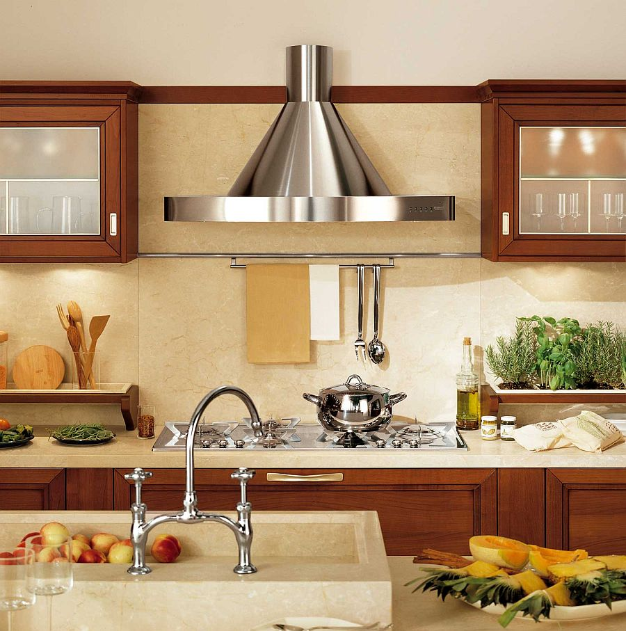 Multiple wall-mounted cabinets add to the visual symmetry of the kitchen
