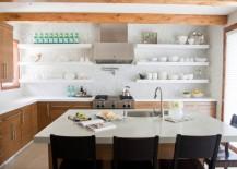 Neatly organized open shelving 217x155 10 Kitchen Organization Tips