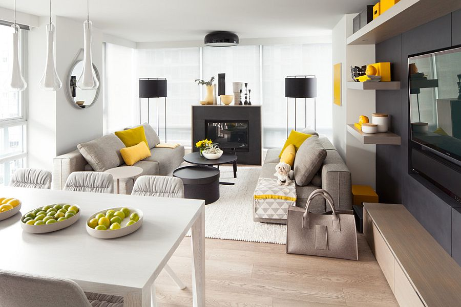 Neutral living room with pops of yellow and black [Design: Gaile Guevara]