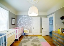 Nursery with a creative Flor tile rug