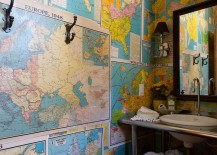 Old maps turned into colorful wallpaper for the eclectic bathroom