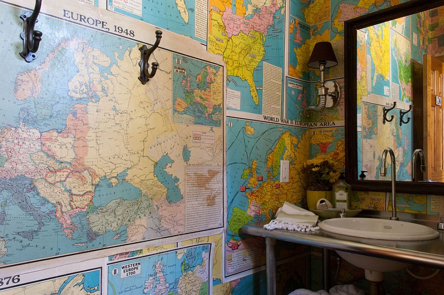Old maps turned into colorful wallpaper for the eclectic bathroom [From: Angela Flournoy]