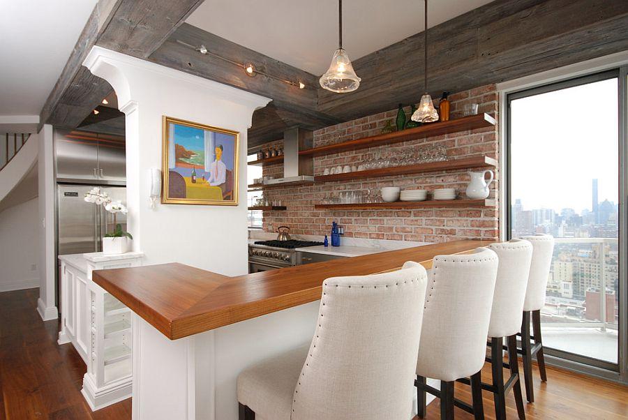 Open shelving gives the eclectic kitchen a breezy ambiance [Design: AMI Design Enterprises]