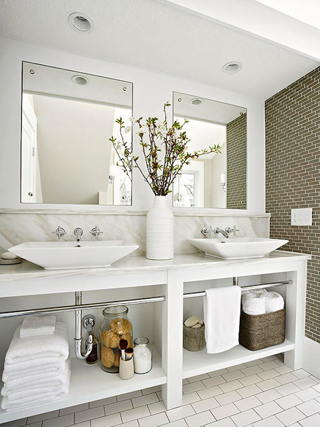 Open storage under vanity makes this bathroom feel more spacious