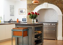 Orient P2 pendant adds metallic glint to the Victorian kitchen