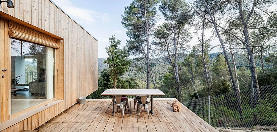 Outdoor deck space seems like a natural extension of the wooden structure