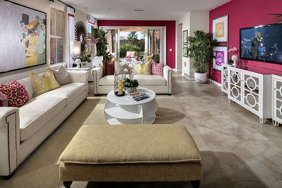 ... Pink Accent Wall In The Contemporary Living Room [Design: Studio V  Interior Design]