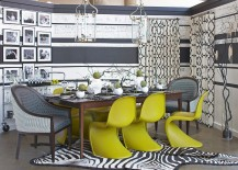 Panton Chair adds color and cheerfulness to the gray dining room