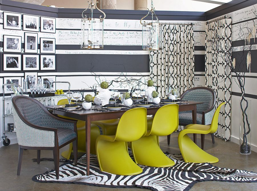 Panton Chair adds color and cheerfulness to the gray dining room [Design: Cynthia Mason Interiors]