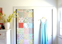 Patches of vintage wallpaper used to style a shabby chic closet