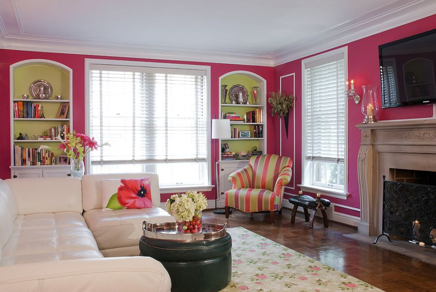 View In Gallery Pink Corsage On The Walls Gives Room A Fun And Colorful Appeal Design