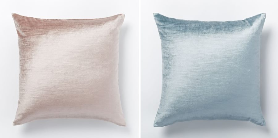 Pink and blue pillows from West Elm