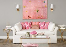 Pink can be used as a fun seasonal color in the modern living room