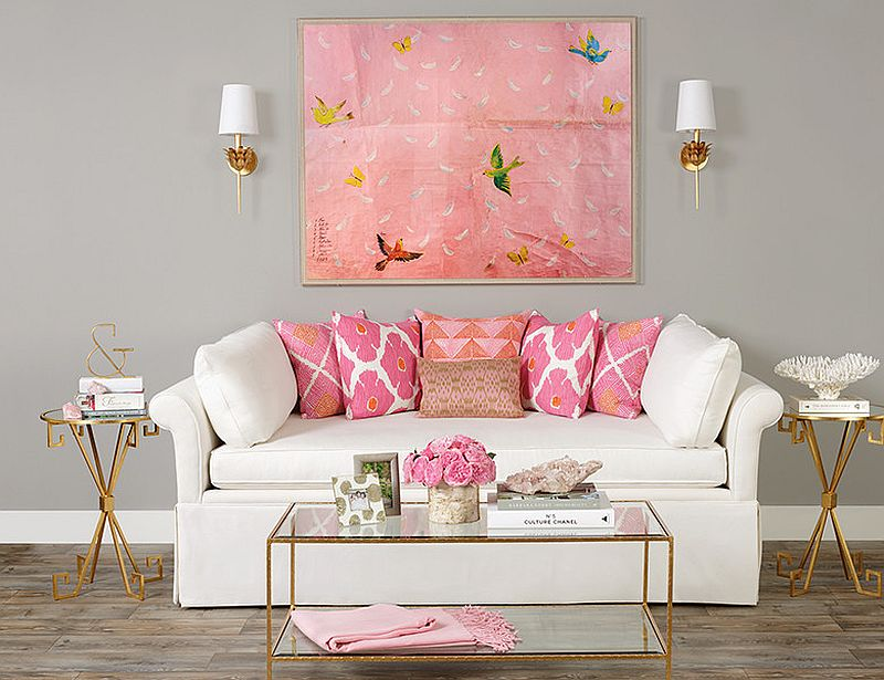 20 classy and cheerful pink living rooms for Living room ideas pink and grey
