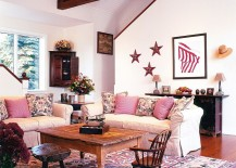 Pink farmhouse style living room with a cheerful, breezy vibe