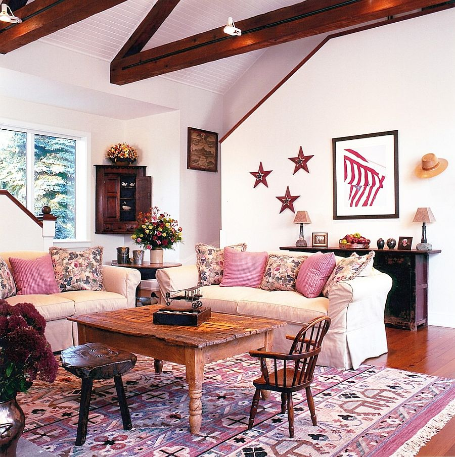 ... Pink Farmhouse Style Living Room With A Cheerful, Breezy Vibe [From:  Andrea Young Part 91