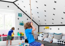Playroom has a relaxed, contemporary vibe despite the wall decals